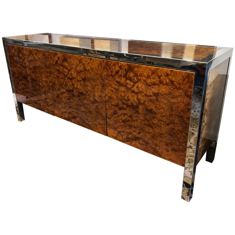 Leon Rosen for Pace Collection Olive Burl Stainless Credenza
