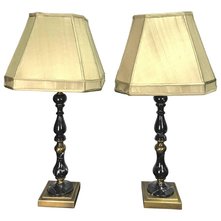 Pair of Regency Style Black Marble Baluster Lamps