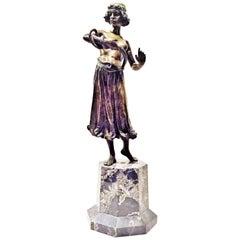 Dance with a Snake, Austrian Jugenstil Bronze and Marble Sculpture, circa 1900