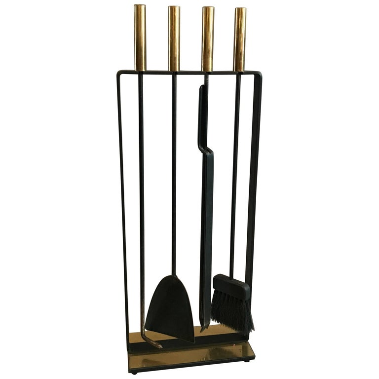 Modernist Wrought Iron and Brass Fireplace Tools