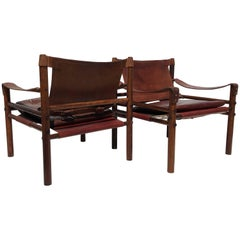 Pair of Arne Norell Rosewood Sirocco Safari Chairs