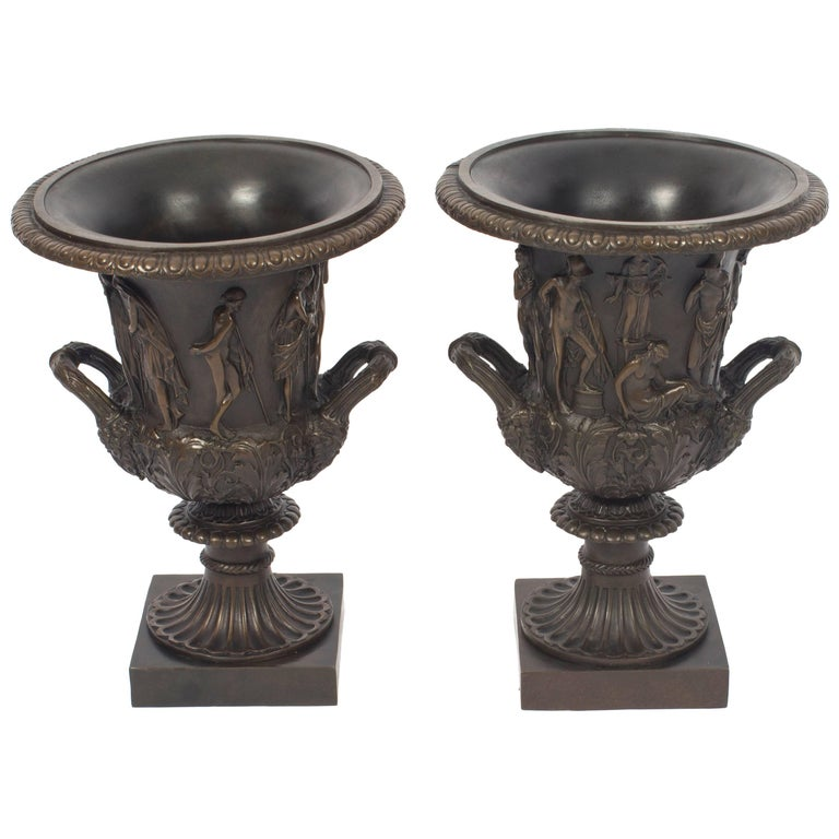 Antique Pair of Grand Tour Borghese Bronze Campana Urns, 19th Century