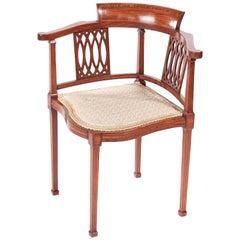 Antique Mahogany Inlaid Corner Chair