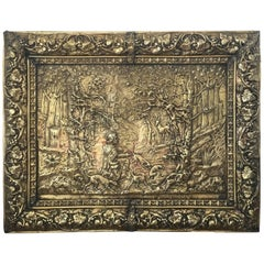Large 47´Picture and Frame in Brass Louis XVI Style, France, circa 1900-1920