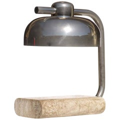 1970s Italian Design by Paolo Salvi Travertine Marble Lamp