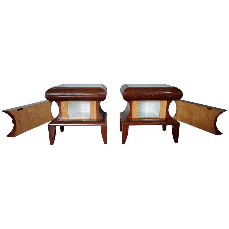Art Deco Burl Walnut Nightstands / Bedside Tables with Porcelain Interior