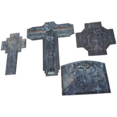 Group of Religious Art Deco Bronze Wall Plaques by Sylvain Norga Crucifix & More