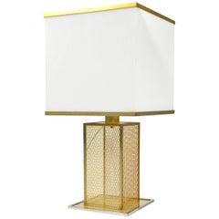 Italian Lucite, Brass and Chrome Table Lamp, Style of Romeo Rega, circa 1970