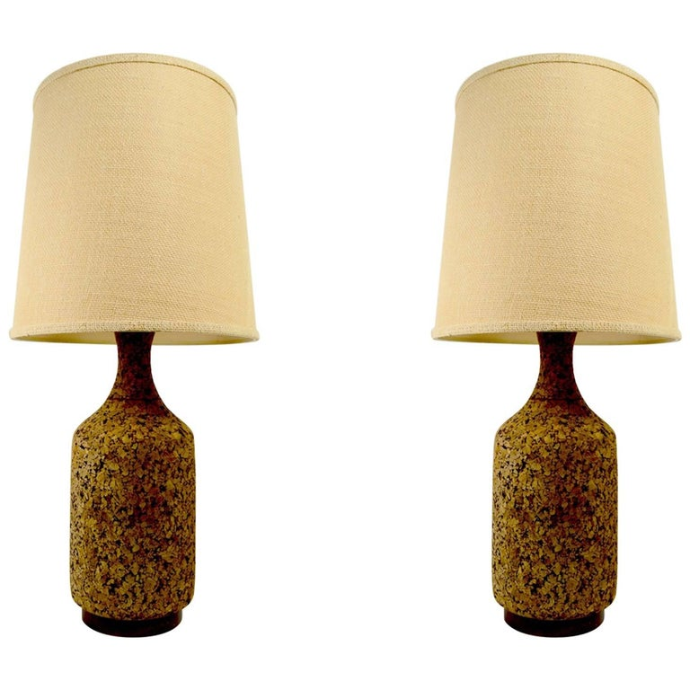 Pair of Cork and Wood Table Lamps