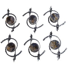 Six Brutalist 1960s Iron Glass Wall Lamps Sconces