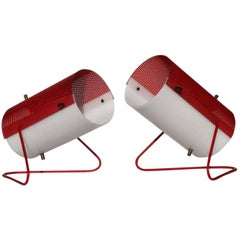 1960s by Stilux Italian Design White Red Pair of Table Lamps