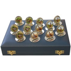 Cased Set 12 Silver and Enamel Bird Menu Holders, 1904-1912