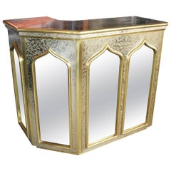 1980s Gilded Brass and Mirrors Bar Table by Gony Nava