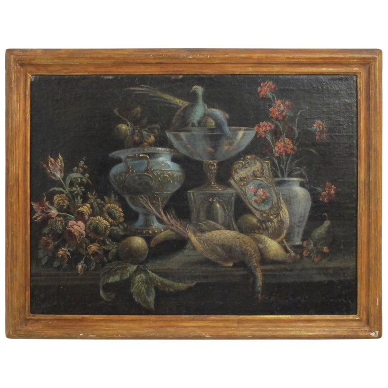 Still Life Painting of Venetian Glass' Flowers and Birds, 19th Century