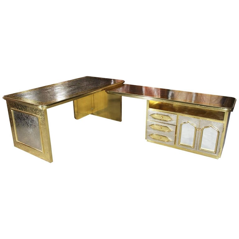 1980s Extendible Gilded Brass Office Desk in the Style of Rodolfo Dubarry