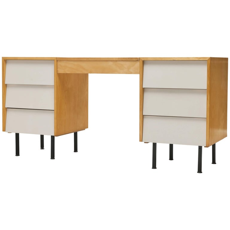 Early Maple Florence Knoll Louvered Chest of Drawers and Vanity or Desk