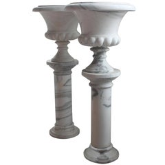 Pair of Fine White Marble Urns on Column Pedestals