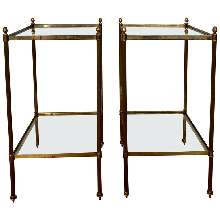 Pair of 1960s Brass Side Table Attributed to Maison Jansen