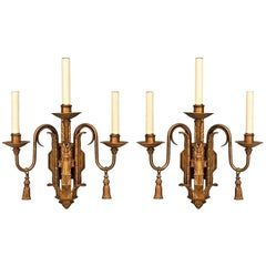 Pairs of English Georgian Style Painted Iron Three-Arm Wall Sconces