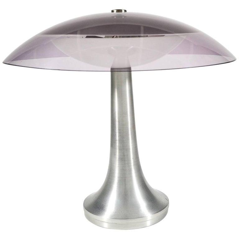 Stilux Milano Italian Table Lamp in Lucite and Aluminium, circa 1960 For Sale