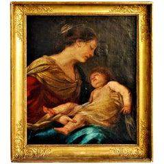"""""""Vierge À L' Enfant"""", Painting, 19th Century"""