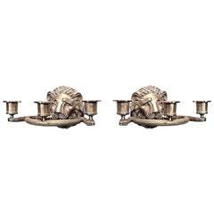 Two Pairs of English Regency Style Gilt Lion Head Three-Arm Wall Sconces