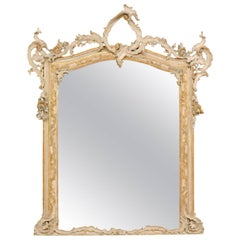 Early 19th Century Italian Baroque Style Grand Scale Mirror with Carved Foliage