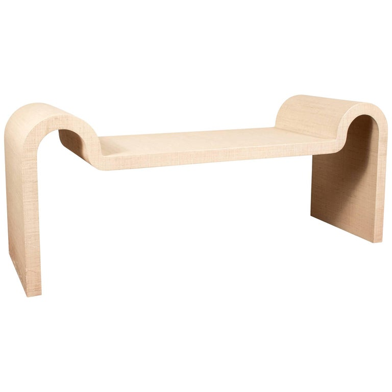 """Karl Springer Signed Iconic and Rare """"Sculpture"""" Contoured Bench"""