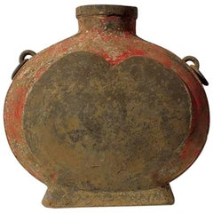 Han Dynasty Grey Pottery Wine Vessel, Bianhu