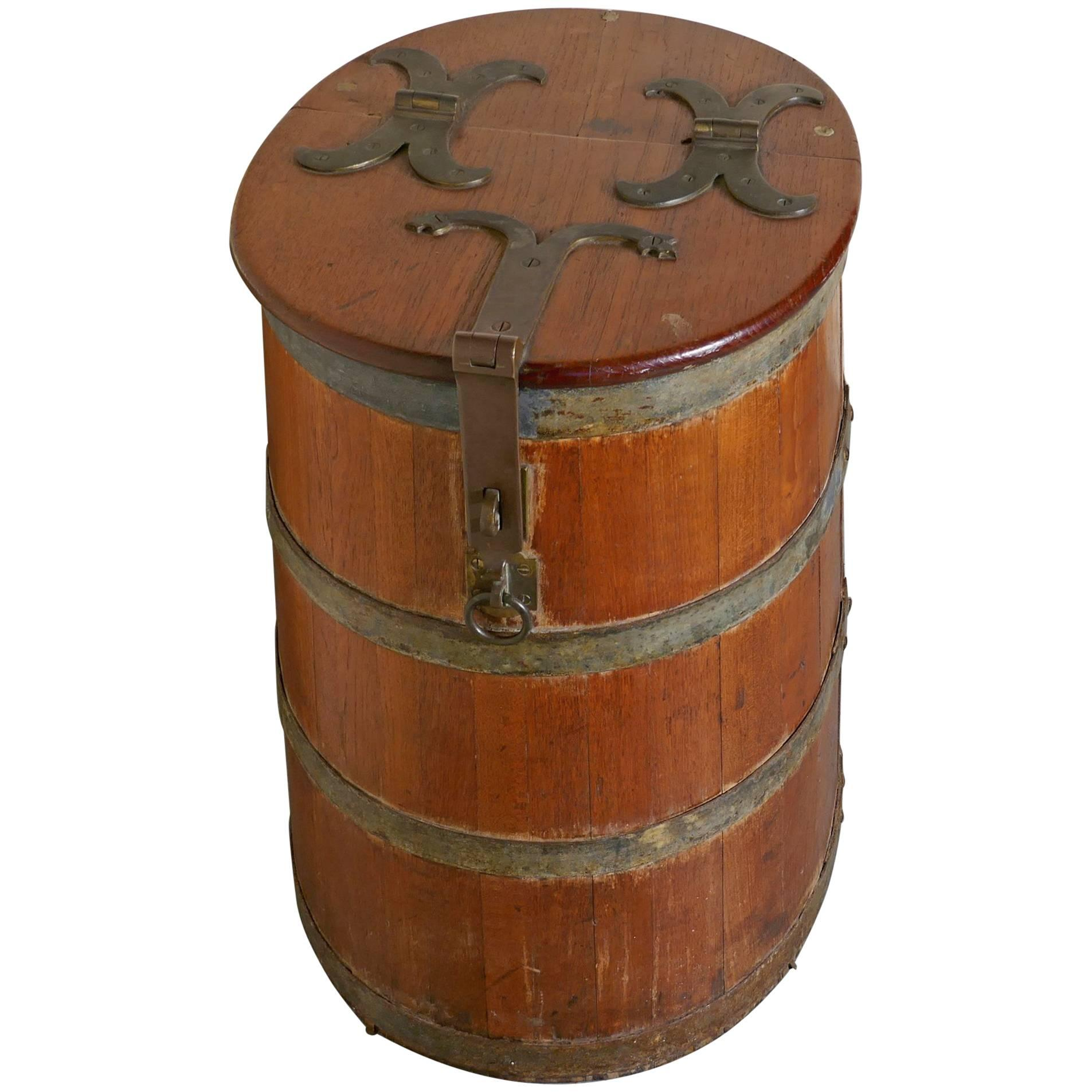 18th Century Ships Salt Beef Barrel, Oak And Brass Ships Storage Tub For  Sale