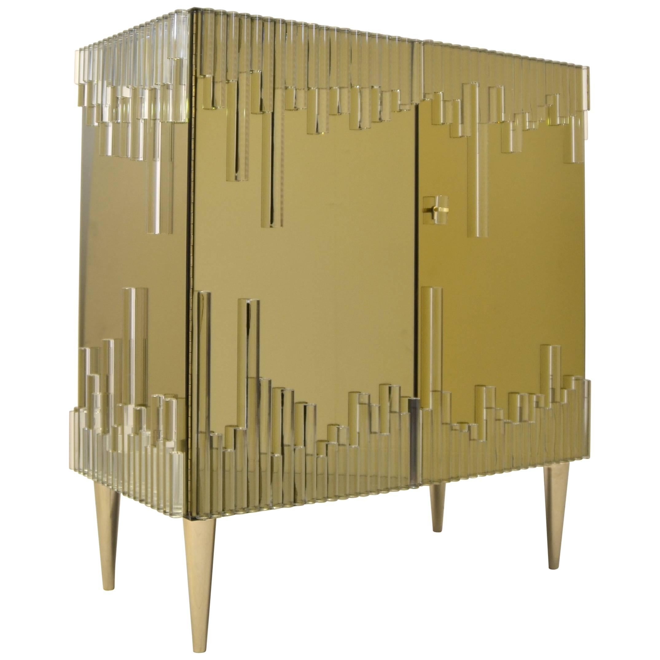 Bamboo Cabinet with Crystal and Colored Mirror in Limited Edition, Made in Italy