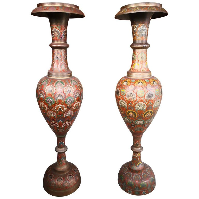 1940s Pair of Bronze Polychrome Enameled Vases For Sale