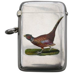 George V Silver and Enamel Cock Pheasant Vesta Case, 1912