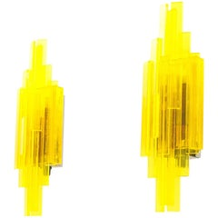 Pair of Large Yellow Wall Lamps by Claus Bolby for Cebo Industri, 1960s