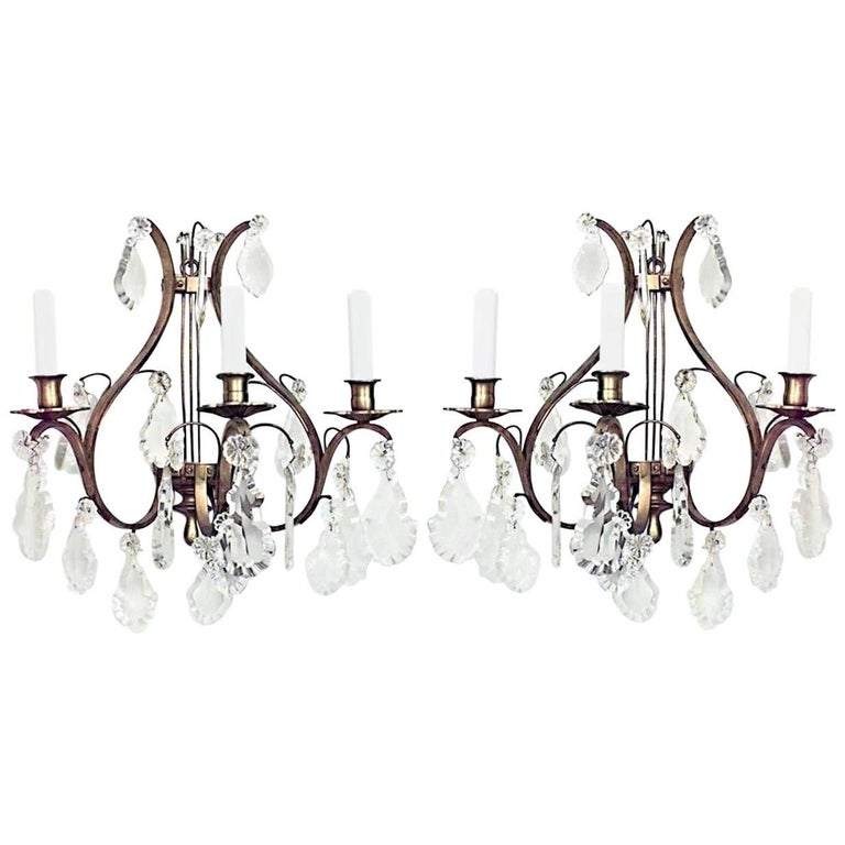 Pairs of French Louis XV Style Bronze and Crystal Lyre Wall Sconces