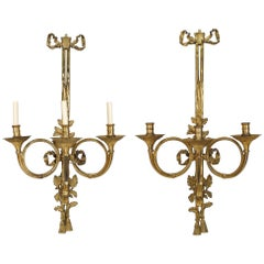 Pairs of French Louis XVI Style Bronze Doré Three-Arm Horn Wall Sconces