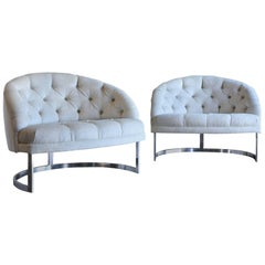 Pair of Deep Tufted Barrel Back Lounge Chairs