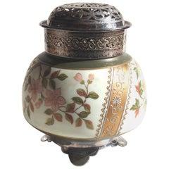 Victorian Bohemian Harrach Enamel Glass Potpurri Holder with Metal Fitments
