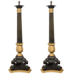 Pair of Patinated and Fire Gilt Bronze Tall Empire Candelabra Bases