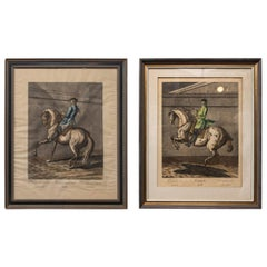 Pair of Engravings of Horses and Riders in Dressage Poses