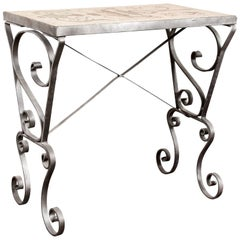 Wrought Iron and Mosaic Tile-Top Side Table