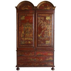Early 18th Century Portuguese Red Lacquer Cabinet