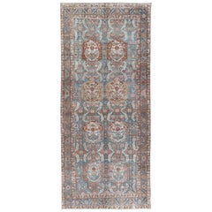 Antique Persian Malayer Rug with Vertical Medallions in Blue, Ivory and Salmon