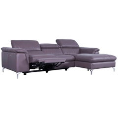 Designer Corner Sofa Grey Brown Taupe Leather with Electric Recliner Functions