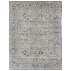 All-Over Design Antique Turkish Sivas Rug in Gray, Ivory, and Blue Tones