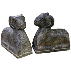 Pair of Antique Italian Hand-Carved Marble Ram Bookends, circa 1900