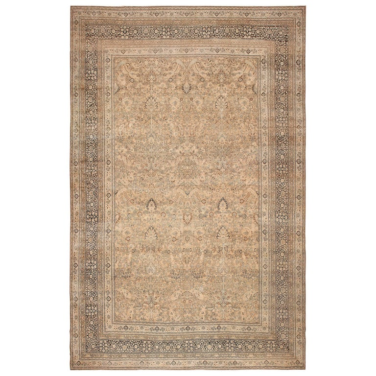 Neutral Earth Tone Color Antique Oversized Persian Tabriz Rug