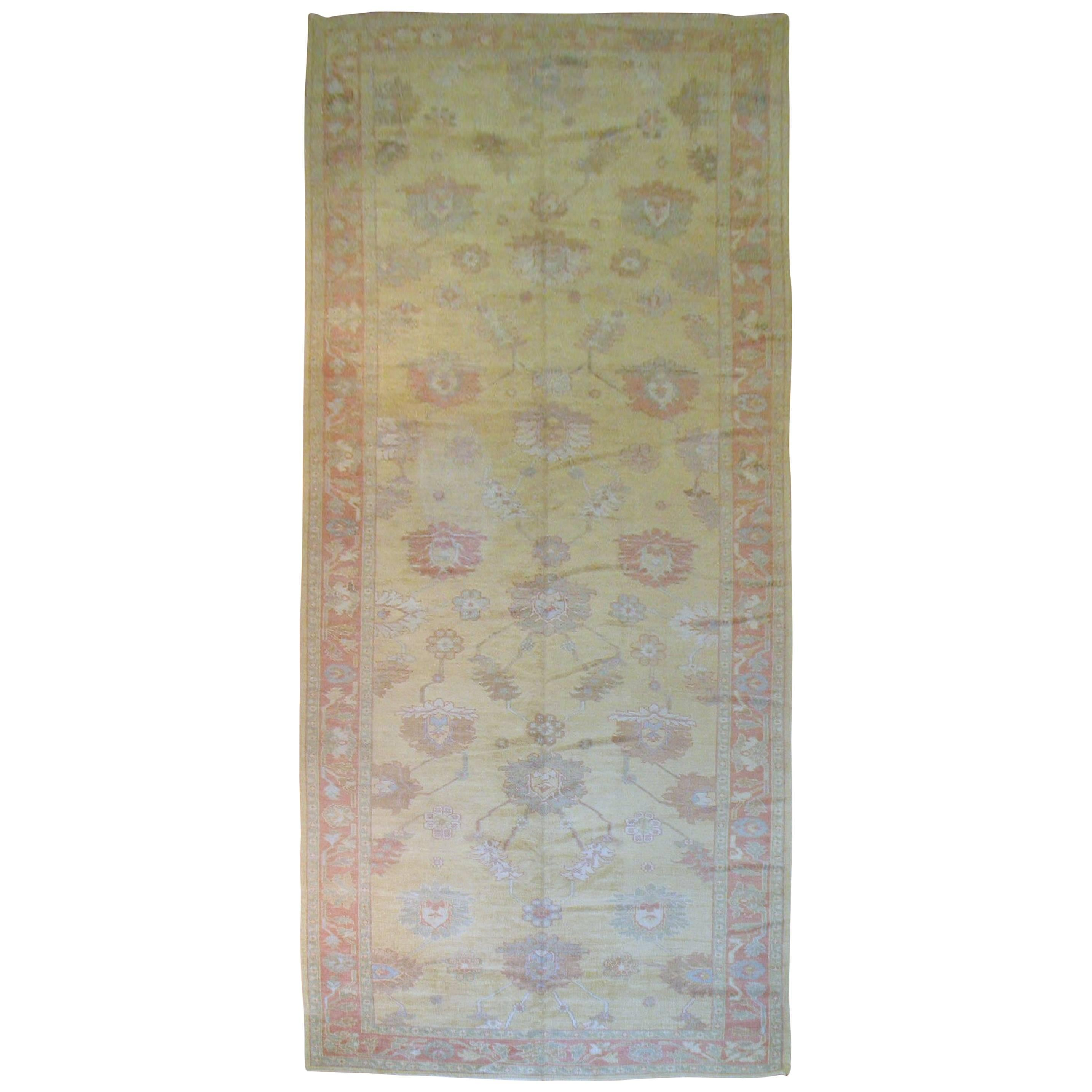 Vintage Inspired Corridor Size Turkish Oushak Rug