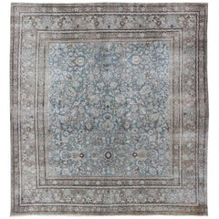 Square Antique Persian Tabriz in Grey, Blue and Brown with Floral Design