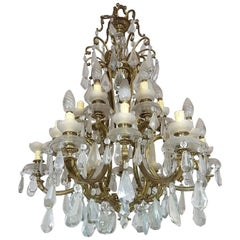 20th Century Italian Gilded Bronze and Crystals Chandelier